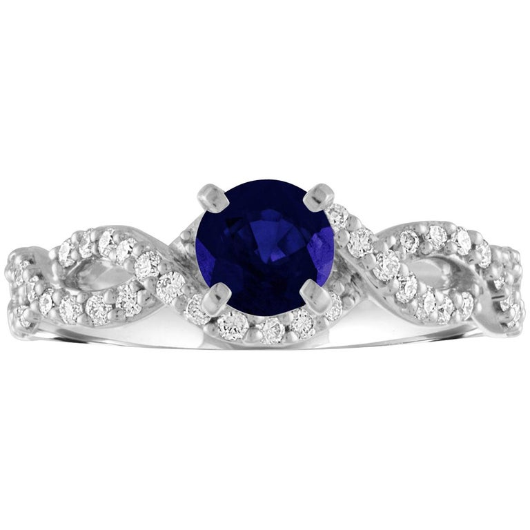 AGL Certified 0.88 Carat Round Sapphire Diamond Gold Ring For Sale
