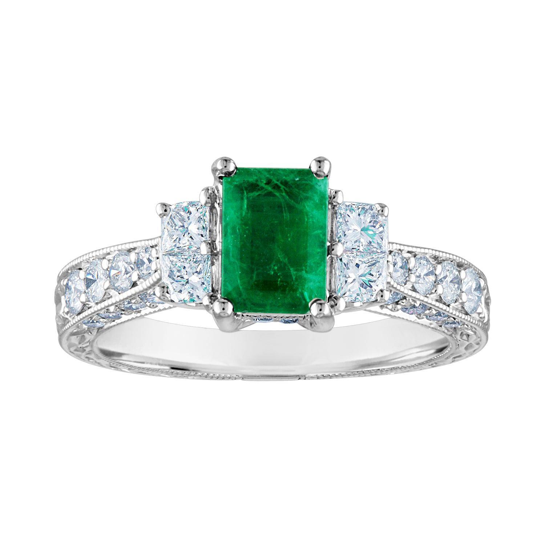 AGL Certified 0.89 Carat Emerald Diamond Gold Milgrain Filigree Ring