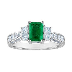 AGL Certified 0.89 Carat Emerald Diamond Gold Milgrain Filigree Ring