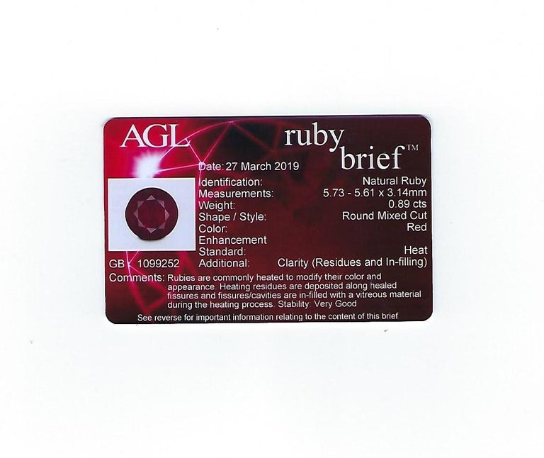 AGL Certified 0.89 Carat Round Ruby Diamond Gold Pave Ring For Sale 4