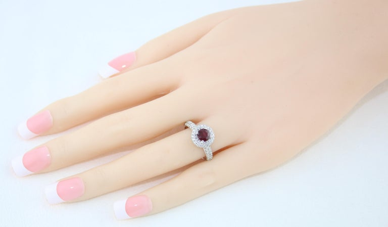 Contemporary AGL Certified 0.89 Carat Round Ruby Diamond Gold Pave Ring For Sale
