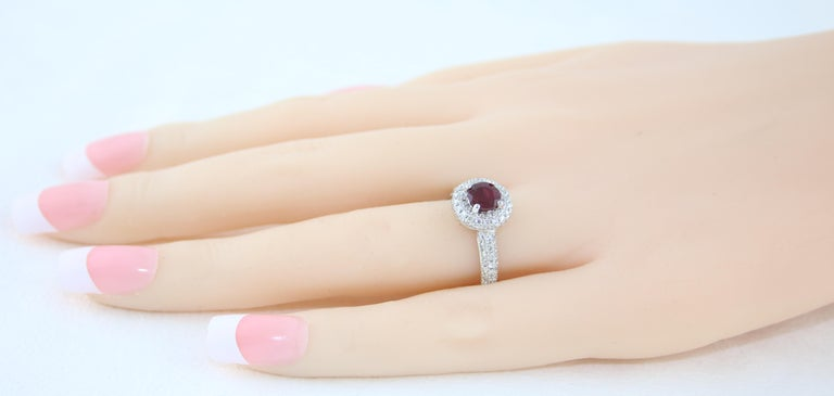 Round Cut AGL Certified 0.89 Carat Round Ruby Diamond Gold Pave Ring For Sale