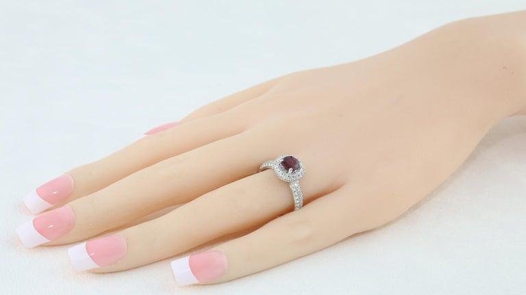 Women's AGL Certified 0.89 Carat Round Ruby Diamond Gold Pave Ring For Sale