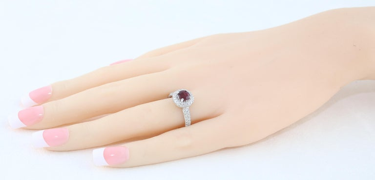 AGL Certified 0.89 Carat Round Ruby Diamond Gold Pave Ring For Sale 1
