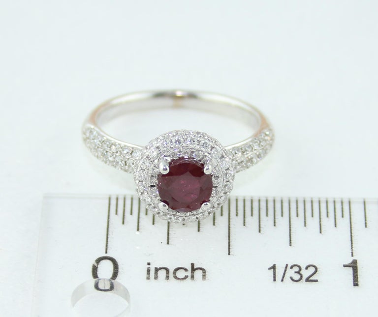 AGL Certified 0.89 Carat Round Ruby Diamond Gold Pave Ring For Sale 3