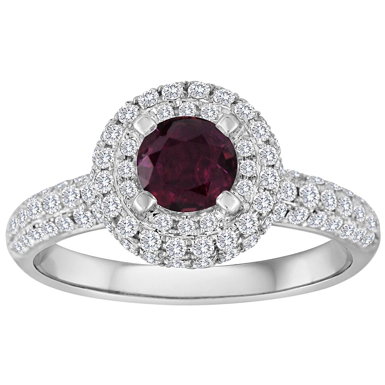 AGL Certified 0.89 Carat Round Ruby Diamond Gold Pave Ring