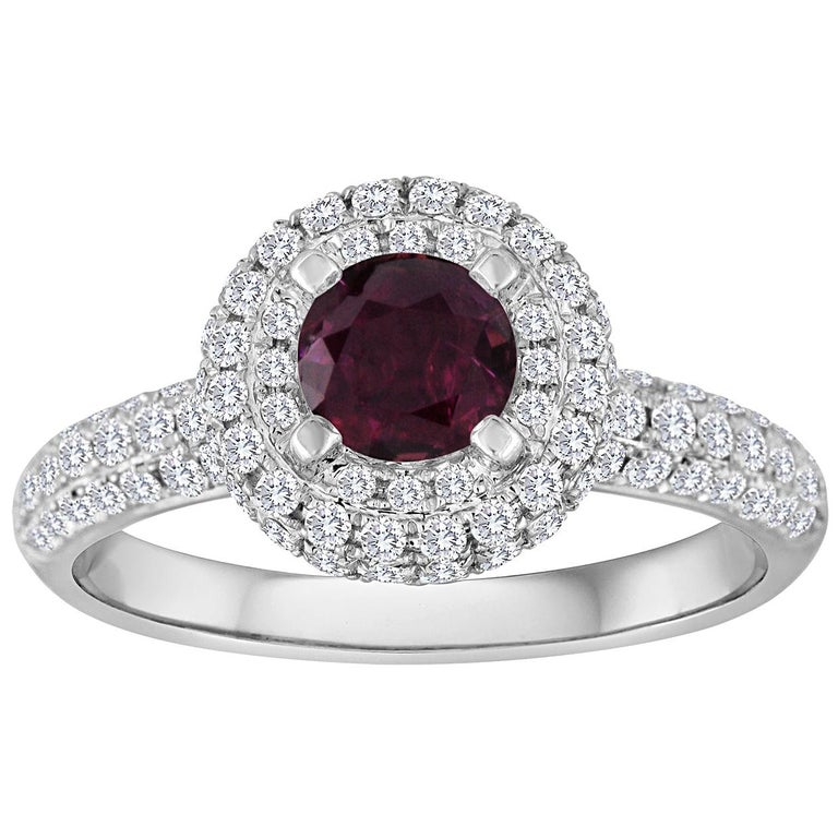 AGL Certified 0.89 Carat Round Ruby Diamond Gold Pave Ring For Sale