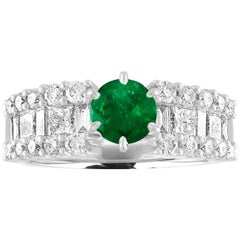AGL Certified 0.90 Carat Round Emerald Diamond Gold Ring