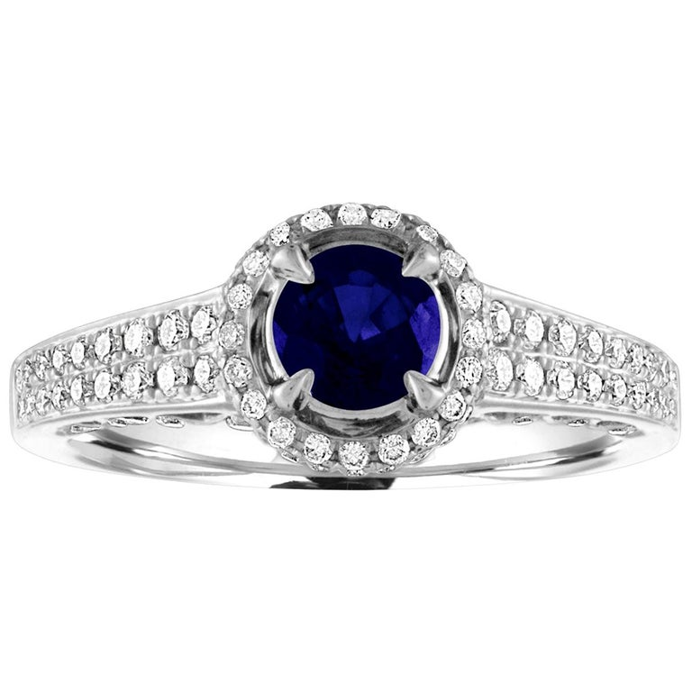 AGL Certified 0.91 Carat Round Sapphire Diamond Gold Ring For Sale