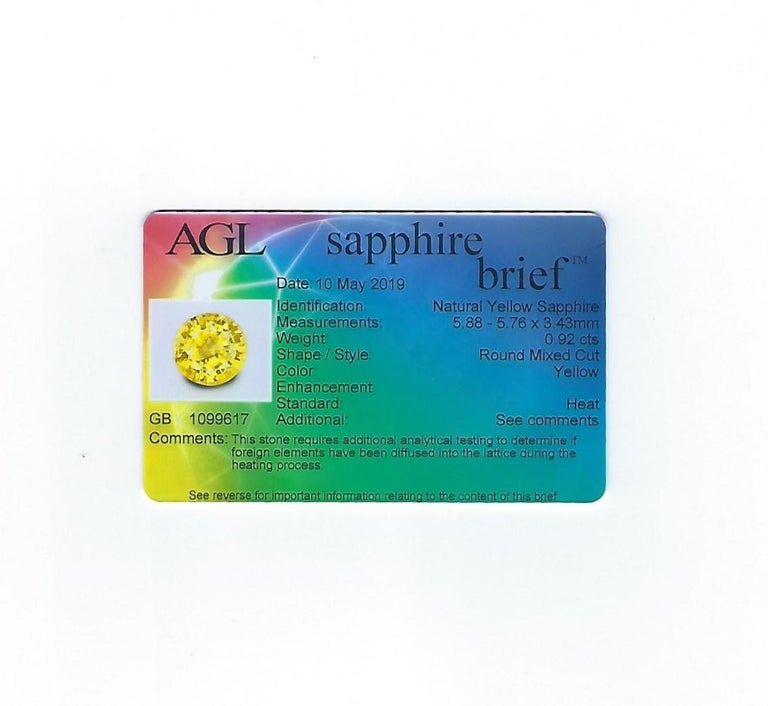 AGL Certified 0.92 Carat Round Yellow Sapphire Diamond Gold Ring For Sale 5
