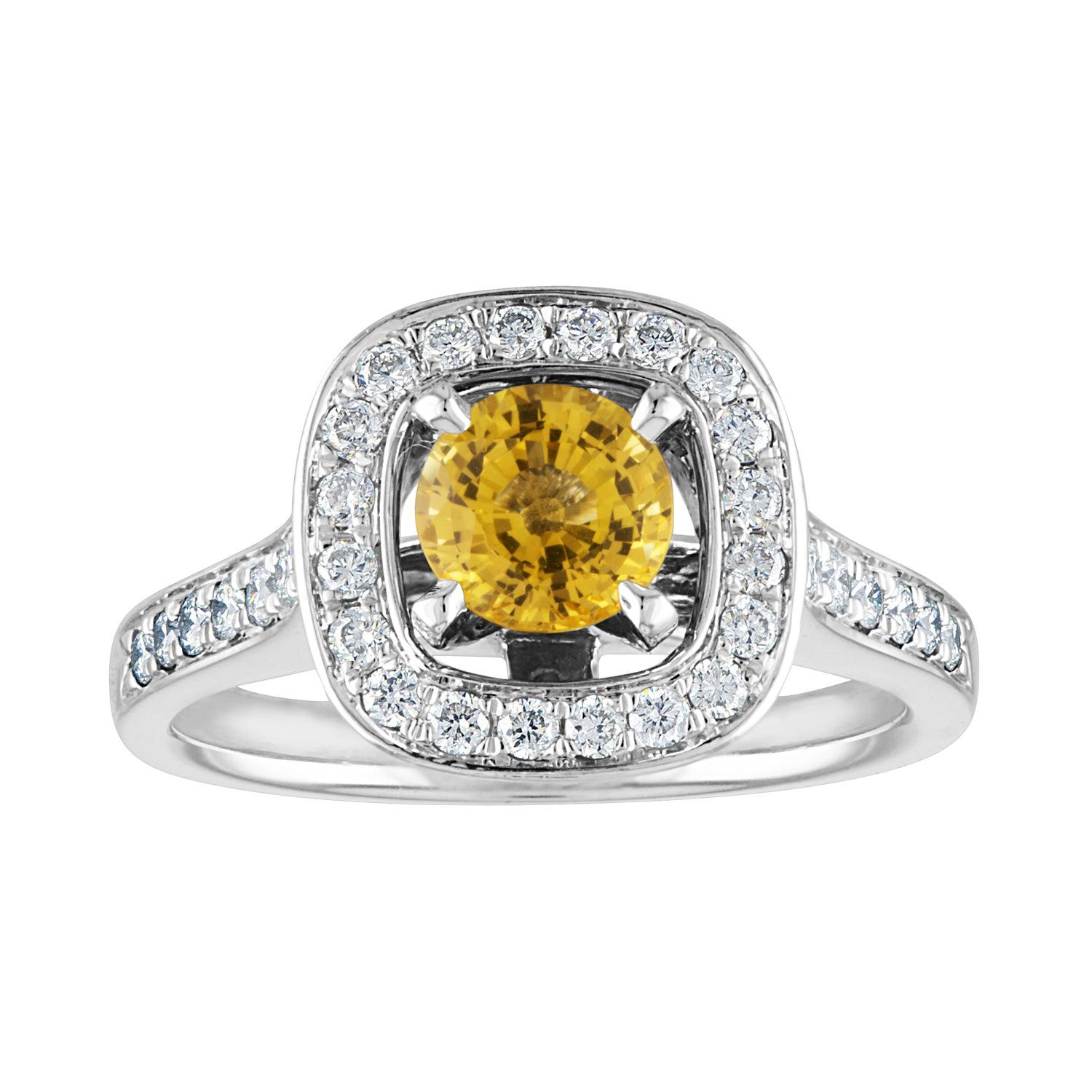 AGL Certified 0.92 Carat Round Yellow Sapphire Diamond Gold Ring