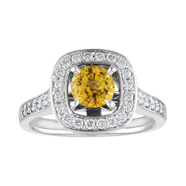 AGL Certified 0.92 Carat Round Yellow Sapphire Diamond Gold Ring For Sale