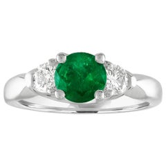 AGL Certified 0.96 Carat Emerald Three-Stone Diamond Gold Ring