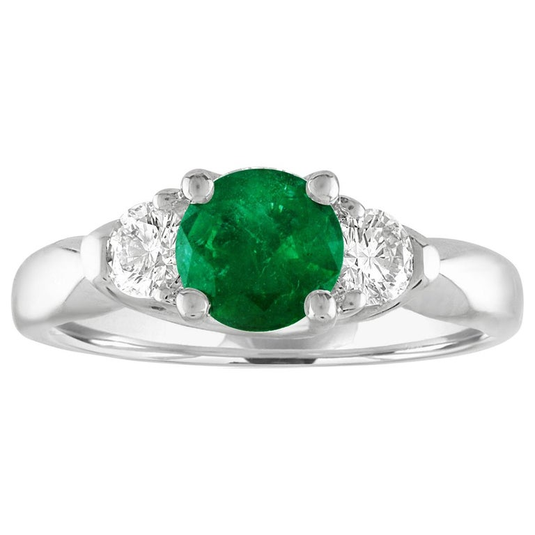 AGL Certified 0.96 Carat Emerald Three-Stone Diamond Gold Ring For Sale