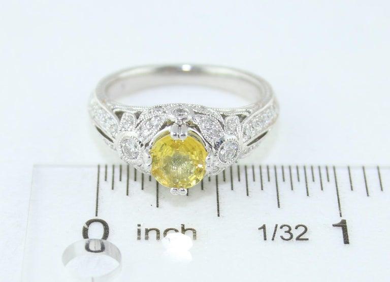 AGL Certified 0.97 Carat Yellow Sapphire Diamond Gold Milgrain Filigree Ring For Sale 4