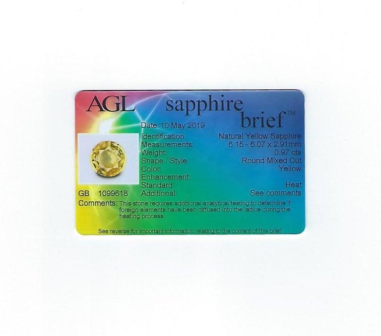 AGL Certified 0.97 Carat Yellow Sapphire Diamond Gold Milgrain Filigree Ring For Sale 5