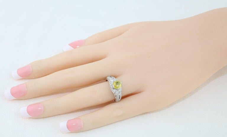 Contemporary AGL Certified 0.97 Carat Yellow Sapphire Diamond Gold Milgrain Filigree Ring For Sale