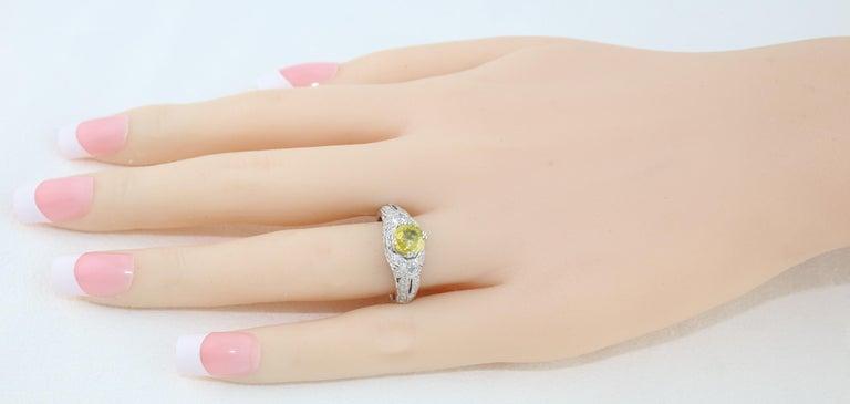 Round Cut AGL Certified 0.97 Carat Yellow Sapphire Diamond Gold Milgrain Filigree Ring For Sale
