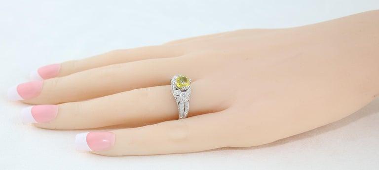 Women's AGL Certified 0.97 Carat Yellow Sapphire Diamond Gold Milgrain Filigree Ring For Sale