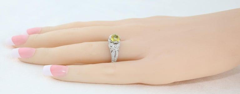 AGL Certified 0.97 Carat Yellow Sapphire Diamond Gold Milgrain Filigree Ring For Sale 1