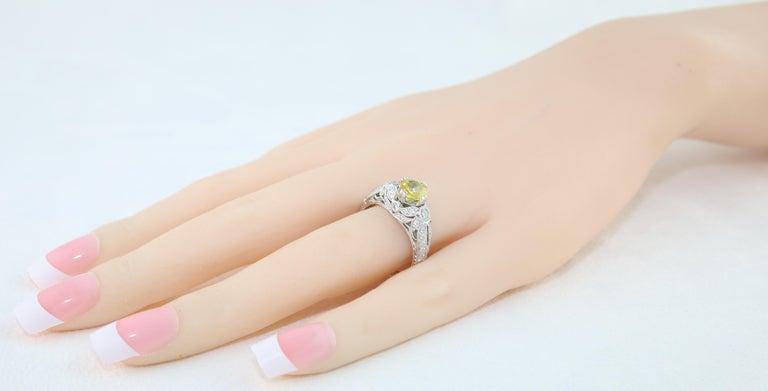 AGL Certified 0.97 Carat Yellow Sapphire Diamond Gold Milgrain Filigree Ring For Sale 2