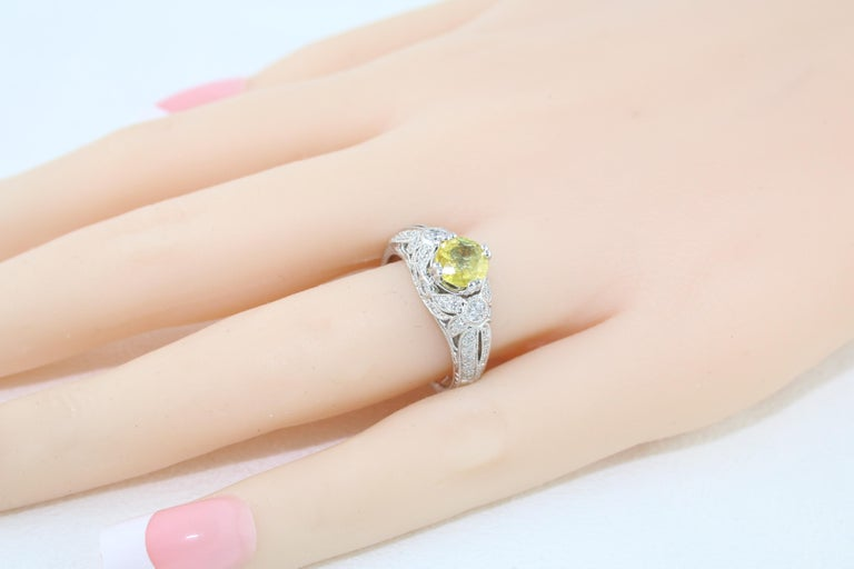 AGL Certified 0.97 Carat Yellow Sapphire Diamond Gold Milgrain Filigree Ring For Sale 3
