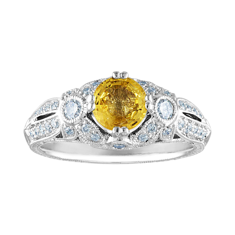 AGL Certified 0.97 Carat Yellow Sapphire Diamond Gold Milgrain Filigree Ring