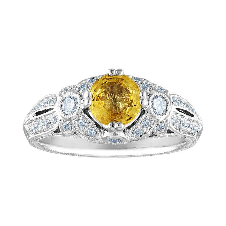 AGL Certified 0.97 Carat Yellow Sapphire Diamond Gold Milgrain Filigree Ring For Sale