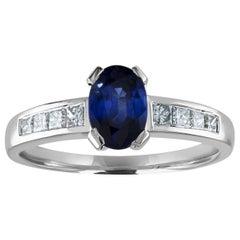 AGL Certified 0.98 Carat Oval Blue Sapphire Diamond Gold Ring