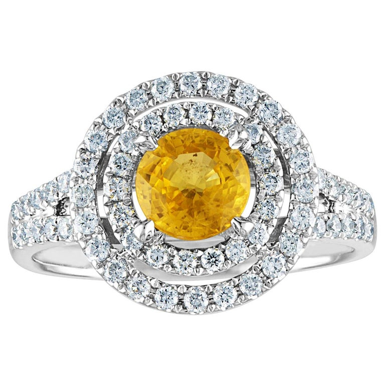 AGL Certified 0.98 Carat Round Yellow Sapphire and Diamond Gold Ring For Sale