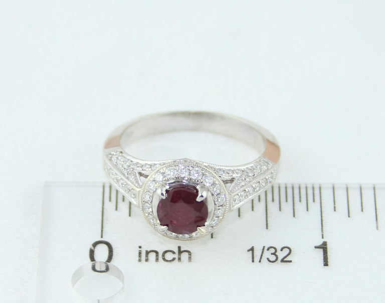 AGL Certified 0.99 Carat Round Ruby Diamond Gold Milgrain Ring For Sale 4