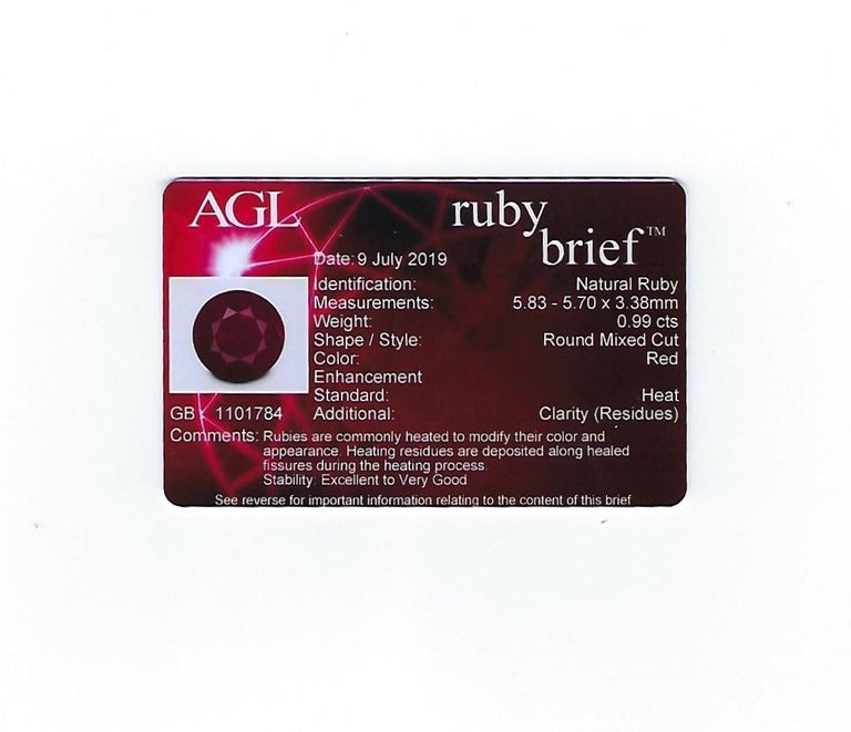 AGL Certified 0.99 Carat Round Ruby Diamond Gold Milgrain Ring For Sale 5