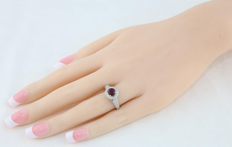 Contemporary AGL Certified 0.99 Carat Round Ruby Diamond Gold Milgrain Ring For Sale