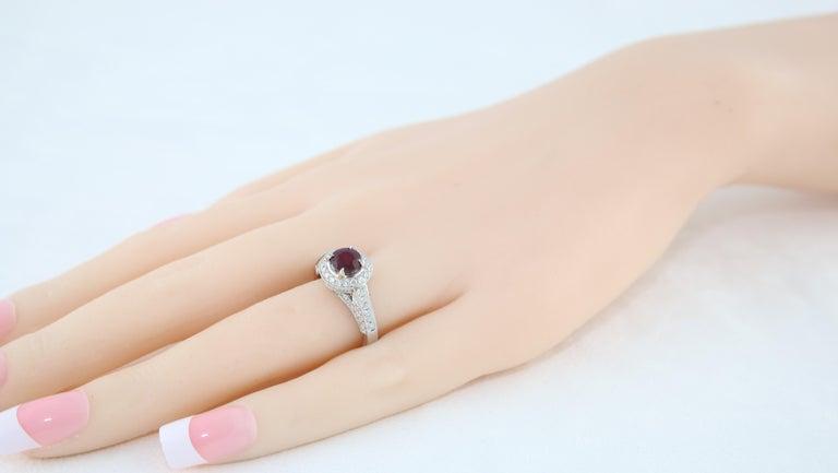 Women's AGL Certified 0.99 Carat Round Ruby Diamond Gold Milgrain Ring For Sale