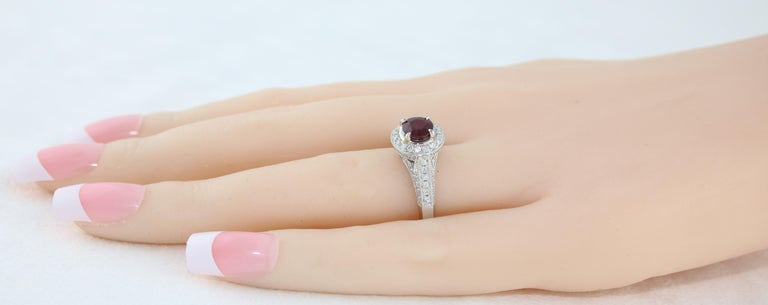 AGL Certified 0.99 Carat Round Ruby Diamond Gold Milgrain Ring For Sale 1