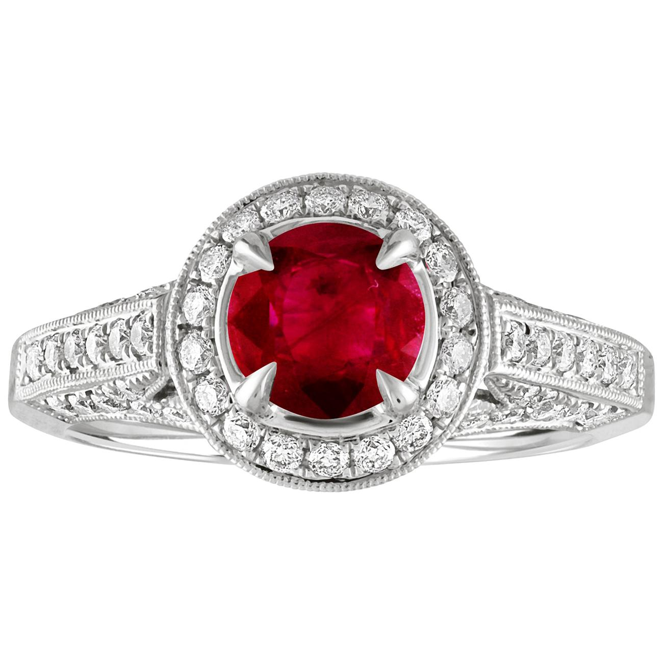 AGL Certified 0.99 Carat Round Ruby Diamond Gold Milgrain Ring