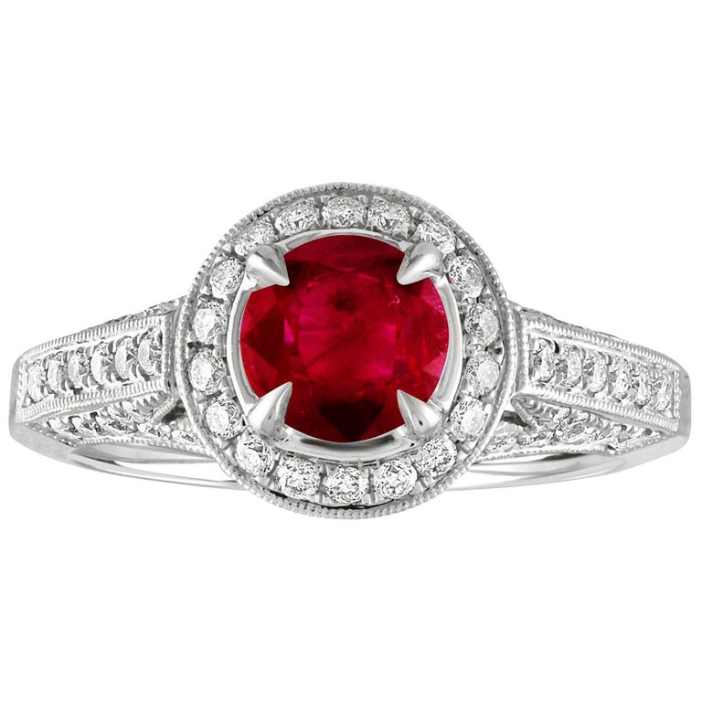 AGL Certified 0.99 Carat Round Ruby Diamond Gold Milgrain Ring For Sale