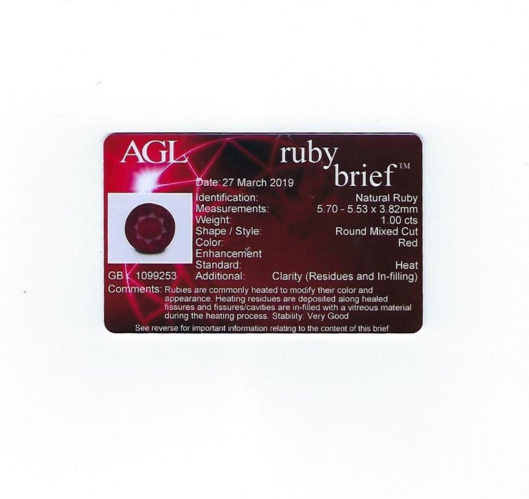 AGL Certified 1.00 Carat Round Ruby Diamond Gold Ring For Sale 4