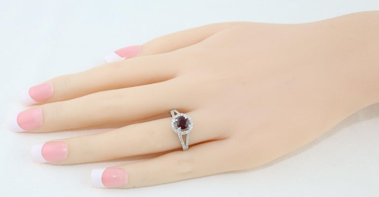 Round Cut AGL Certified 1.00 Carat Round Ruby Diamond Gold Ring For Sale