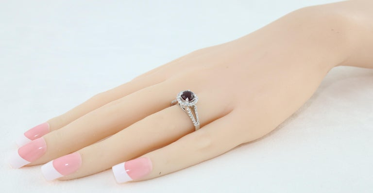 AGL Certified 1.00 Carat Round Ruby Diamond Gold Ring For Sale 1