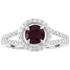 AGL Certified 1.00 Carat Round Ruby Diamond Gold Ring
