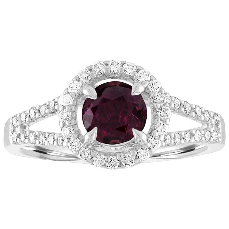 AGL Certified 1.00 Carat Round Ruby Diamond Gold Ring For Sale