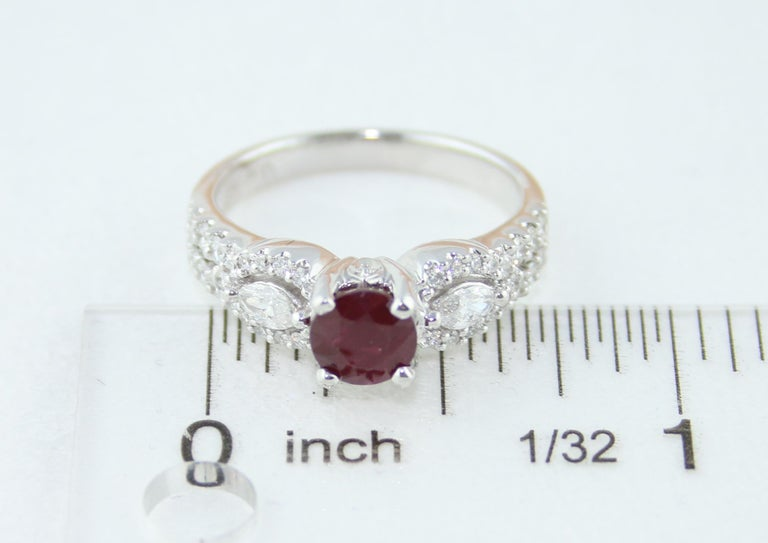 AGL Certified 1.02 Carat Round Ruby Diamond Gold Ring For Sale 5