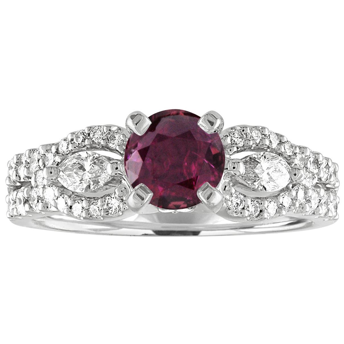 AGL Certified 1.02 Carat Round Ruby Diamond Gold Ring