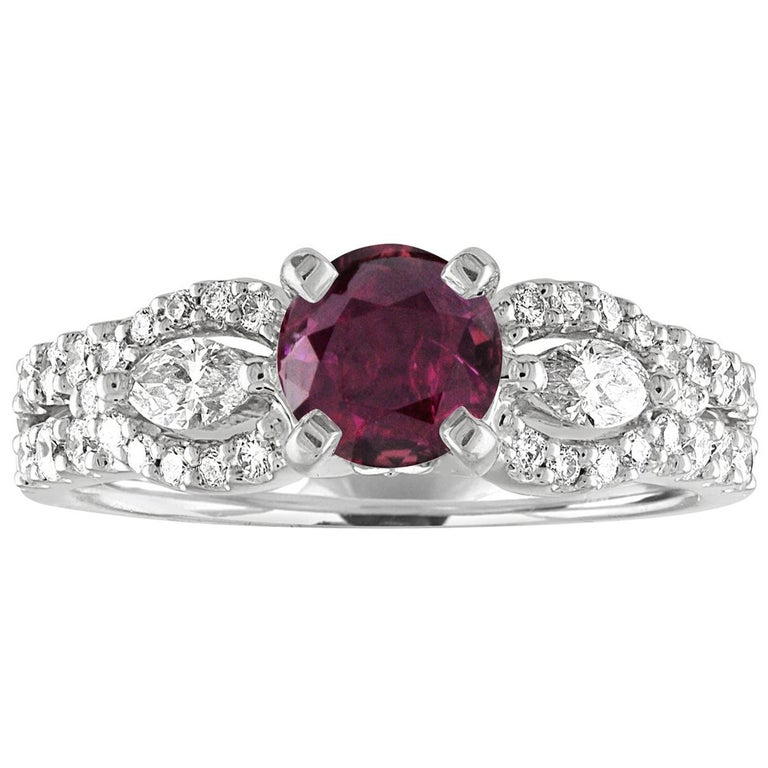 AGL Certified 1.02 Carat Round Ruby Diamond Gold Ring For Sale