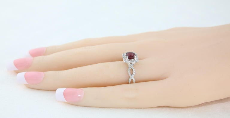 AGL Certified 1.04 Carat Round Ruby Diamond Gold Ring For Sale 4