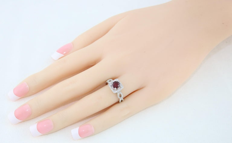 Women's AGL Certified 1.04 Carat Round Ruby Diamond Gold Ring For Sale