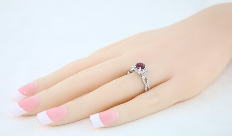 AGL Certified 1.04 Carat Round Ruby Diamond Gold Ring For Sale 3
