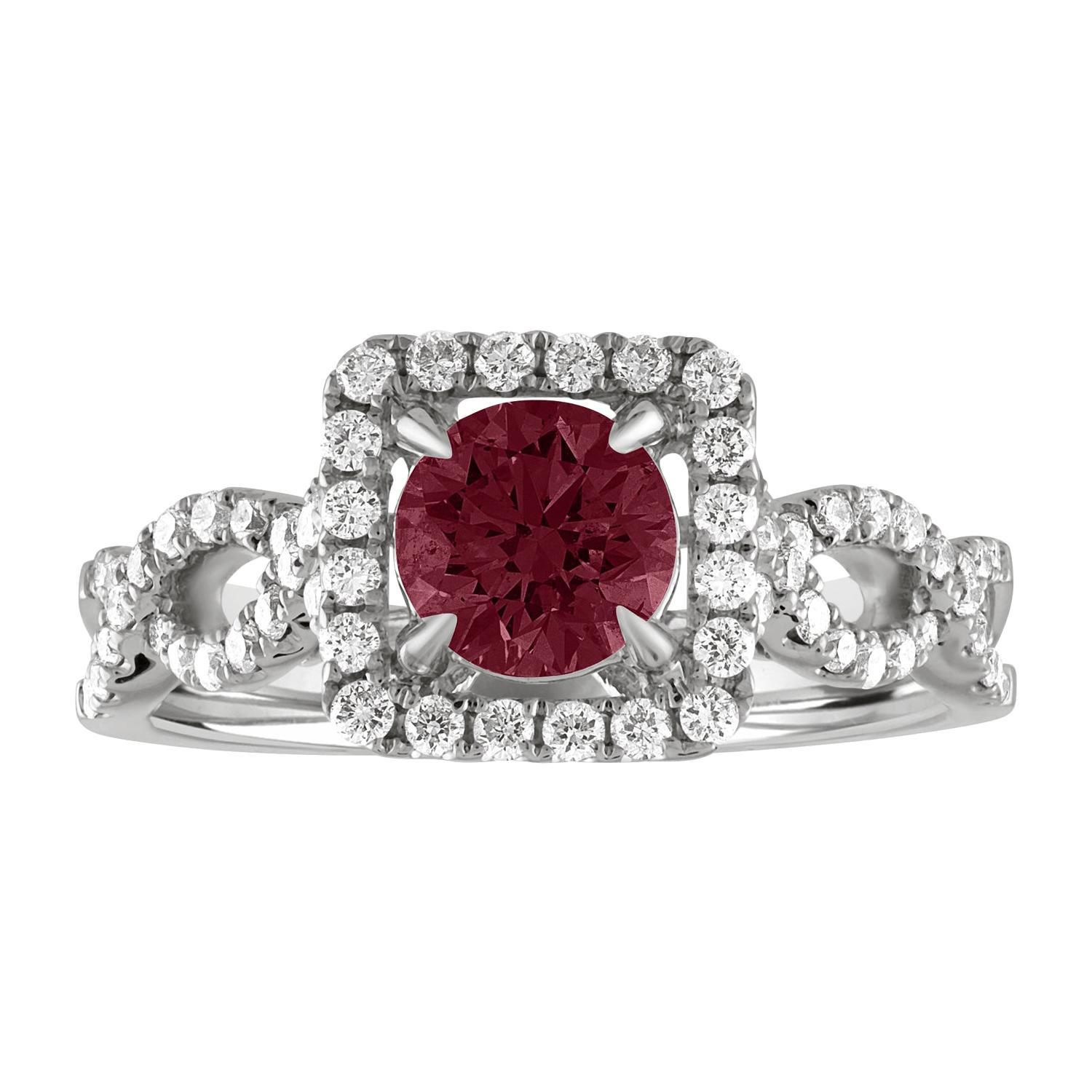 AGL Certified 1.04 Carat Round Ruby Diamond Gold Ring
