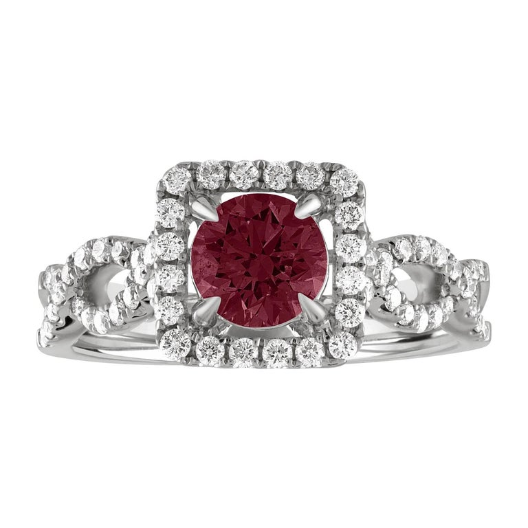 AGL Certified 1.04 Carat Round Ruby Diamond Gold Ring For Sale